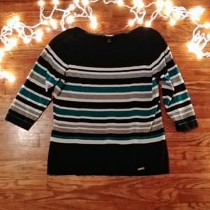 WHBM Horizontal Striped Boat Neck Sweater
